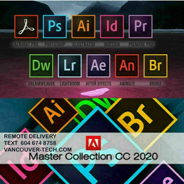 Adobe Master Collection CC 2020 ? Lifetime license Pre-Activated  One time payment only you won't need to pay any monthly subscriptions or fees