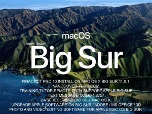 macOS Big Sur elevates Mac to a new level of power and beauty with a refined new design, major app updates and more transparency around your privacy. Developer:MacBook Pro and the Mac Mini all have M1 chip versions available to order now. big sur update Final Cut Pro 10.5. UPGRADE recovery tech support canada vancouver toronto montreal calgary kelowna bc edmonton ottawa canada
