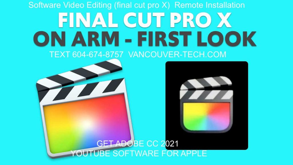 """Software Video Editing (final cut pro X) Remote InstallatiON mac os x big sur and video Editing for youtube Best Software 2020 Final Cut Pro 10.5 Together with the release of macOS 11 """"Big Sur"""" Apple released an update to its pro editing software Final Cut Pro and does away with the X,Final Cut Pro updates 10.5, Motion to 5.5 and Compressor to 4.5. ... Top Tens · RSS ... Apple Updates All Pro Video and Audio Apps for Big Sur - FCP 10.5 Is Here! Details: Written by Peter Wiggins: Published: 12 November 2020 ... design for synthesis, mapping and zone editing in a single window interface... Best Video Editing Software for Mac [Big Sur Supported]. By Apple Store max os x upgrade recovery and Install New Final Cut Pro Remote installation only $80   Last Update: Aug. 25, 2020 ... Update: Apple updates Final Cut Pro X to 10.5, optimized to the new M1 chip. ... Popular among YouTubers and filmmakers, HitFilm Express is not only for pros, but also semi-pros in video editing on Mac.A comparison of Final Cut Pro between Catalina 10.15.7 And MacOs Big Sur.I will compare launching Final Cut with a 320Gb Library. I will also...ig Sur Apple MAC OS X Upgrade Best Video Editing Software Apple Final Cut Pro X 2021 Big Sure MAC OS 11.0.1 Apple Software Download ... the Mac Mini all have M1 chip versions available to order now. big sur update Final Cut Pro 10.5. UPGRADE recovery tech support canada vancouver toronto montreal calgary NZ , Australia , USA Apple today updated Final Cut Pro and Logic Pro, its video and audio editing apps designed for professionals, to version 10.5 and 10.6, respectively.... ... The new software updates introduce improved performance and efficiency on Mac ... Apple Black Friday 2020: Best Apple Watch Deals [Updated]."""